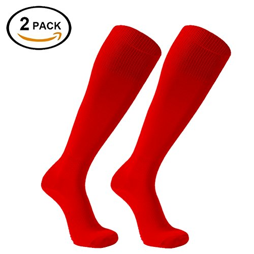 Long Santa (Adult Soccer Socks, FOOTPLUS Youth Cushion Winter Warm Long Skiing Skating Over Knee High Thanksgiving Christmas Santa Socks 2 Pairs Red, Large)