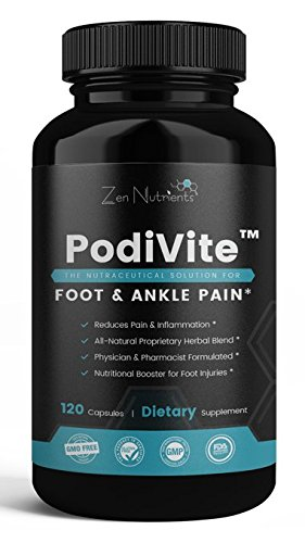 PodiVite Plantar Fasciitis Supplement - The Most Comprehensive Foot & Ankle Pain Relief Formula - 100% Natural & GMO Free - 120 Caps