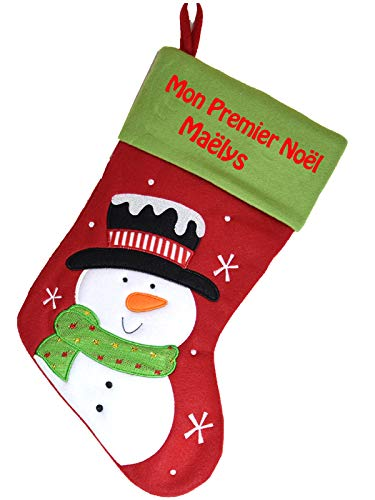 Chaussette de Noël Mon Premier Noël personnalisé avec broderie motif Bonhomme de Neige