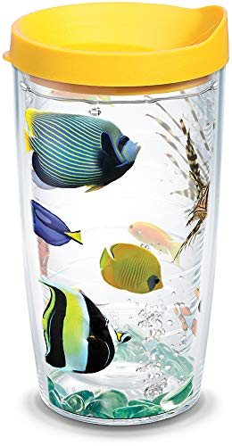 Tervis 1098244 Tropical Fish Tumbler with Wrap and Yellow Lid 16oz, Clear