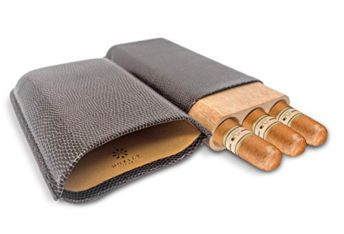 midor for Travel - Dark Brown Leather (3X Holders) with Genuine Spanish Cedar Wood Interior in Gift Box ()