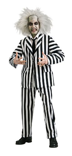 [Beetlejuice Grand Heritage Collection Deluxe Costume, Black/White, Standard] (Beetlejuice Costume Wig)