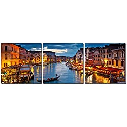 Wieco Art - Venice Night 3 Piece Modern Cityscape Artwork Stretched and Framed Giclee Canvas Prints Landscape City Pictures Paintings on Canvas Wall Art for Living Room Bedroom Home Decorations