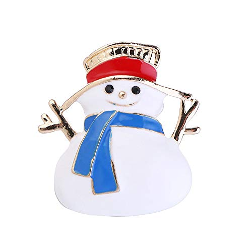 (Xmas Gift White Enameled Snowman Brooch Pin Badge Emblem Corsage Pins for Christmas in Gold Color)