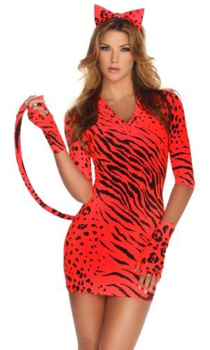 Bad Kitty Fancy Dress Costume (Forplay Bad Kitty Headband, Dress With Tail, Gloves, Orange, X-Small/Small)