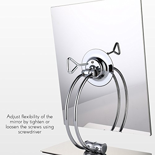 Miusco Large Vanity Makeup Mirror, Non-Magnifying, Beveled Edges, All Direction Swivel, Rectangle, Chrome