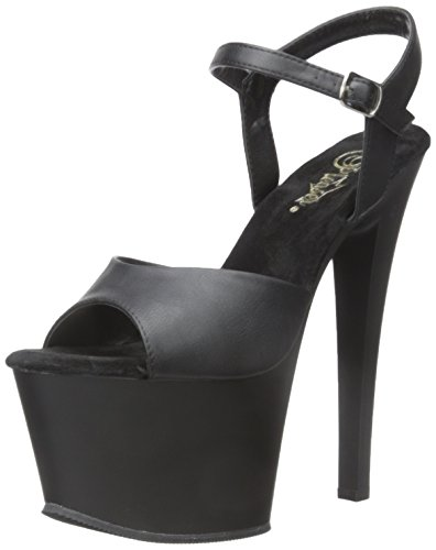 Pleaser SKY309/BPU/M Women's Platform Dress Sandal, Black Faux Leather/Black Matte, 6 M (Womens Matte Black Leather)
