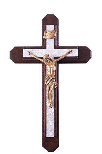 Pastoral Sick Call Set Walnut Wood with Pearlized Epoxy Inlay Cross Crucifix, 15 Inch