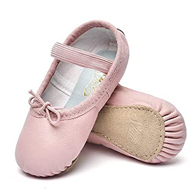 STELLE Girls Premium Leather Ballet Shoes Slippers for Kids Toddler Pink Size: 1 Big Kid
