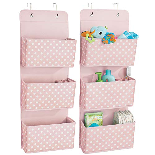 mDesign Soft Fabric Over The Door Hanging Storage Organizer with 3 Large Pockets for Child/Kids Room or Nursery - Fun Polka Dot Pattern, Hooks Included, Light Pink with White Dots, Pack of 2 by mDesign