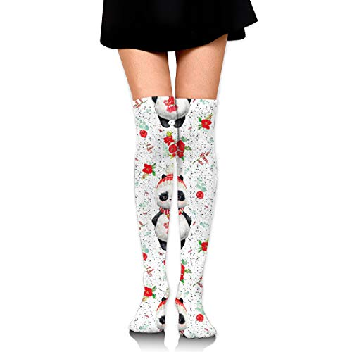 Red Floral Panda Black Dots Fashion Over The Knee High Warmer Stockings 65cm(25.59in) Sports Compression Socks ()