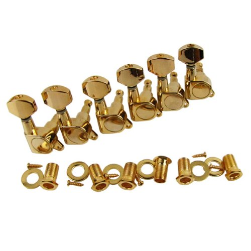 Musiclily 6-in-line Sealed Electric Guitar String Tuning Pegs Keys Machine Head Tuners Set Right Hand for Fender Stratocaster Tele Guitar ,Gold  - Gold Screw Accents
