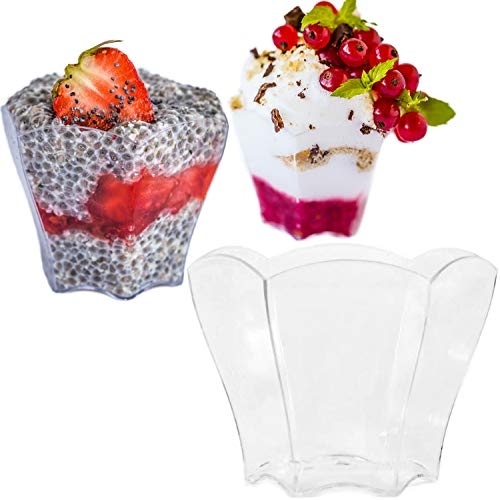 Deluxe Mini Dessert Cups 72 Ct ? 2.37 oz Disposable Small Clear Plastic Cup, Elegant Petal Design | Effortless Gourmet Desserts & Dips| For Weddings, Parfait Cups, Sample Tasting, Appetizers, Shooters
