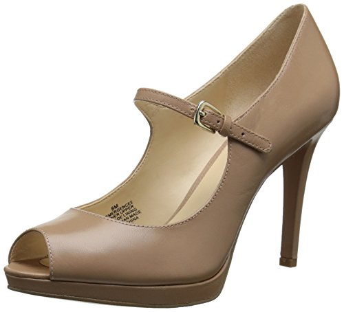 Leather Peep Toe Mary Janes (Nine West Women's Emergencee Leather Dress Pump, Taupe, 10.5 M US)