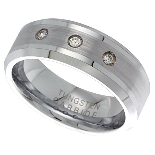 8mm Tungsten 900 Wedding Ring 3 Stone CZ Satin Finish Beveled Edges Comfort fit, size 9.5