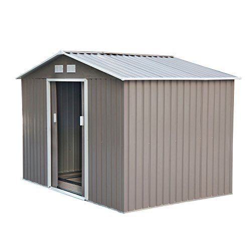 Outdoor Wood Storage Building (Outsunny 9' x 6' Outdoor Backyard Metal Garden Utility Storage Shed - Gray/White)