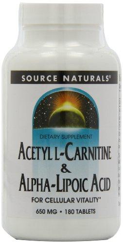 Source Naturals Acetyl L-Carnitine & Alpha-Lipoic Acid 650mg - 180 Tablets (Acid 180 Tabs)