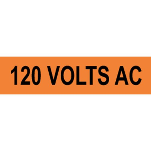 ComplianceSigns Vinyl Safety Label, 4 x 1 in. with Electrical Voltage Info, 10-Pack Orange