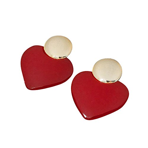 (Fashion Goldtone Drop Earrings Red Heart Plastic Disco Jewelry)