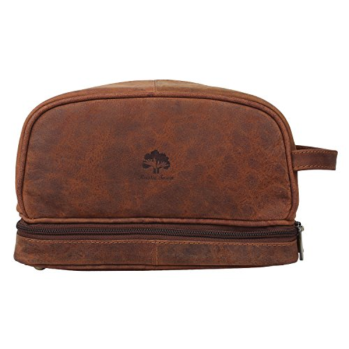 Handmade Buffalo Genuine Leather Toiletry Bag Dopp Kit Shaving and Grooming Kit for Travel ~ Gift for Men Women ~ Hanging Zippered Makeup Bathroom Cos…