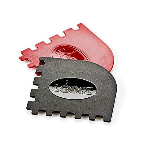 Lodge SCRAPERGPK Durable Grill Pan Scrapers, Red and Black, 2-Pack - Iron Multifunction Tool