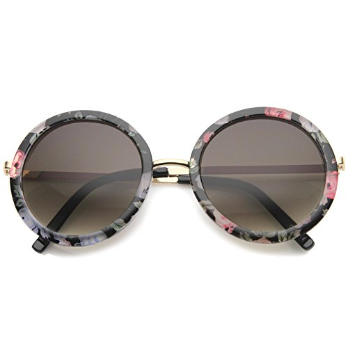 zeroUV - Womens Oversized Floral Flower Print Metal Temple Round Sunglasses (Gold-Pink - Round Sunglasses Floral