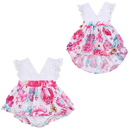 Family Clothes Matching, Family Matching Outfits Kids Baby Girl Flower Lace Romper and Princess Tulle Tutu Party Dress 0-6M]()