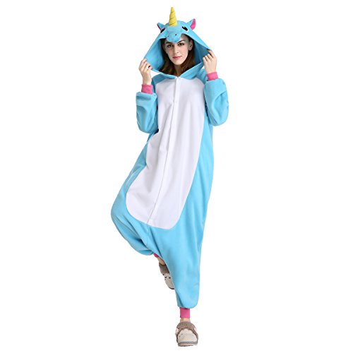 Horses Dressed Up In Costumes (Halloween Costumes Unisex Kigurumi Onesie Cosplay Costumes Unicorn (L, blue flying horse))