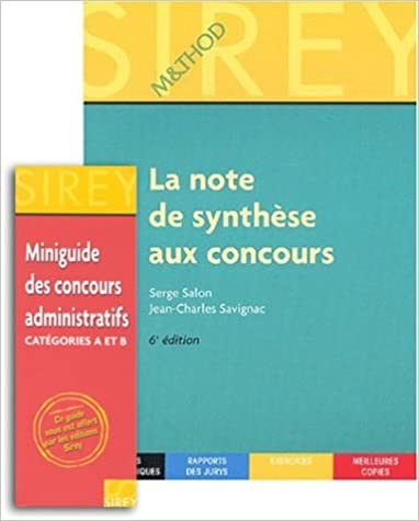 E-Boks téléchargement gratuit La Note de synthèse aux concours + en cadeau : Miniguide des concours administratifs catégories A et B PDF RTF