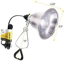 Simple Deluxe HIWKLTCLAMPLIGHTS Clamp Lamp Light with 5.5 Inch Aluminum Reflector up to 60 Watt E26 (no Bulb Included) 6 Feet 18/2 SPT-2 Cord, 1-Pack, Black