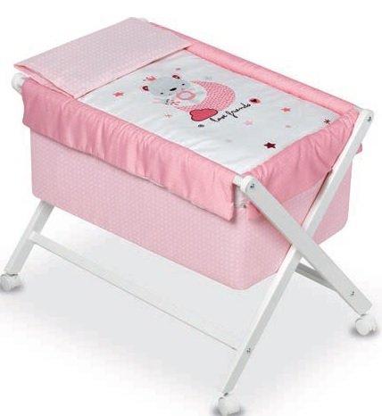 pirulos 28313510–minicuna klappbar Schere Miele, Motiv Love Friends, 68x 90X71cm, Farbe: weiß/pink