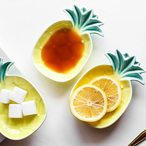Astra Gourmet Set of 3 Ceramic Pineapple Shaped Dip Condiment Bowls/Trinket Dish/Small Snack Sugar Dessert Serving ()
