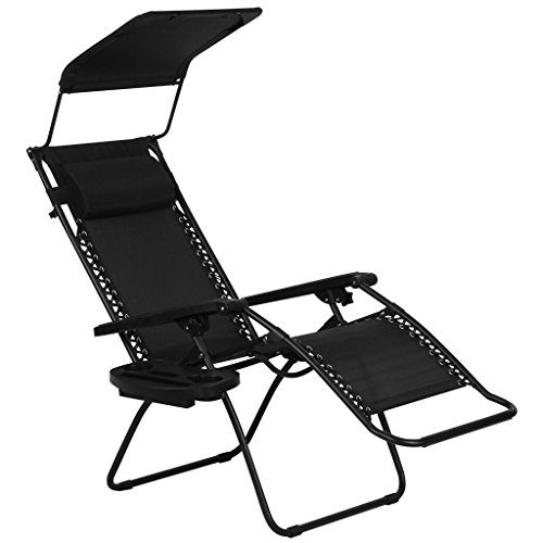 Finether Folding Zero Gravity Lounge Chair with Adjustable Headrest, Canopy Sunshade and Side Tray (Black)