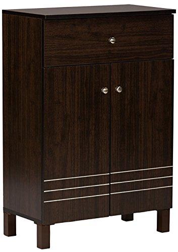 Wholesale Interiors Baxton Studio Felda Dark Brown Modern Shoe Cabinet with 2 Doors and Drawer by Wholesale Interiors