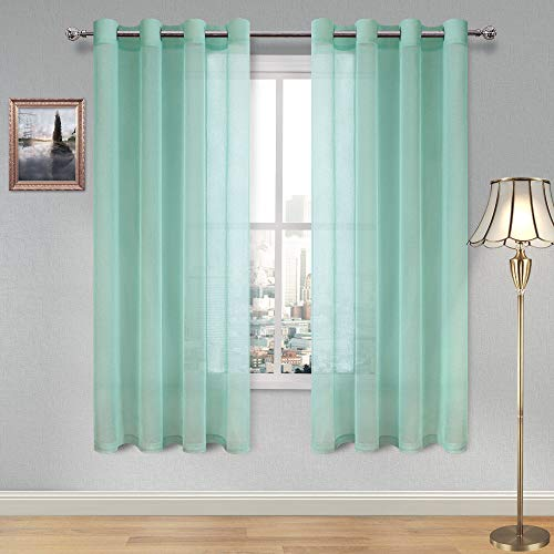 Mint Length - DWCN Sheer Curtains Faux Linen Sheer Voile Window Curtain for Living Room Grommet Aqua Drapes 52 x 63 Inch Long, 1 Pair, Set of 2 Panels