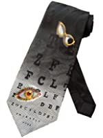 Steven Harris Mens Optometrist Eye Chart Necktie - Black - One Size Neck Tie