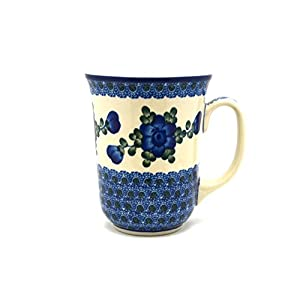 Polish Pottery Mug – 16 oz. Bistro – Blue Poppy