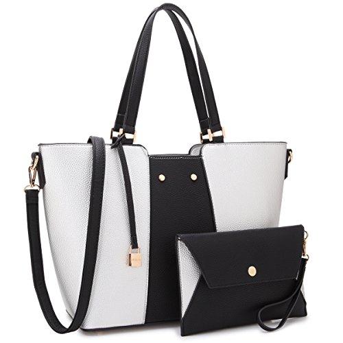 Women Large Designer Laptop Tote Bag Two Tone Handbag Work Tote Bag Satchel Purse w/Matching Wallet (Silver/Black New)