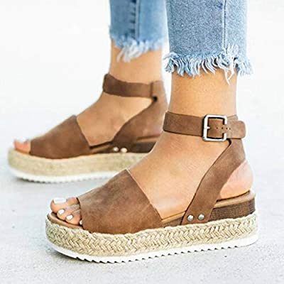 Fudule Women Wedge Sandals High Heels Rubber Sole Summer Casual Platform Buckle Ankle Strap Shoes for Women Party Sandal: Clothing