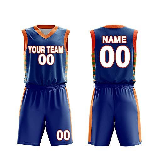 Custom Basketball Jerseys Set for Men Sportswear- Make Team Uniform Print Team Name,Number and Your Name. (L, Dunk Blue)