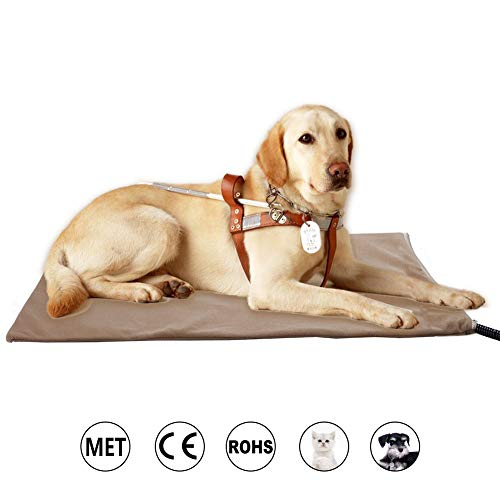 Zobire Pet Heating Pad, Large Dog Heating Pad, Indoor Waterproof Electric Heated Pet Bed, Met Safety Listed(27.6IN X 15.75IN) (Heater Pad House Dog)
