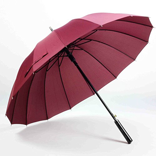 Burgundy Women'S Mens Windproof Retro Business Sun Rain Long Umbrella by Fashion Hat