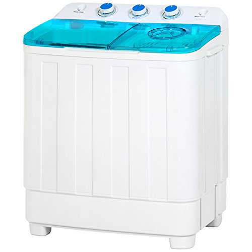 Best Choice Products Portable Mini Twin Tub Compact Washing Machine and Dryer Combo w/ 15-Minute Timer, Drain Hose, Spin Dry Cycle - White/Blue