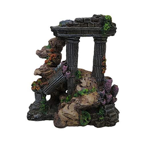Basketball Home - Simulation Resin Roman Column Aquarium Decorations Fish Tank Rock Ruins Plants Decor Decoration - People Figurines Miniatures Figurines Miniatures Roman Column Decor Rustic Fig
