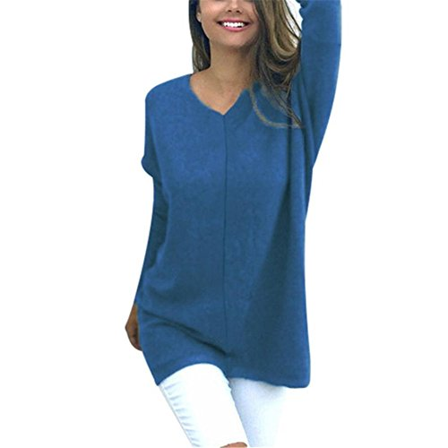 Kimloog Womens VNeck Long Sleeve Solid Tunic Sweaters Jumper Cotton Tops Outfit S Blue
