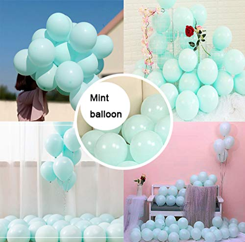 Party Pastel Balloons 100 pcs 10 inch Macaron Candy Colored Latex Balloons for Birthday Wedding Engagement Anniversary Christmas Festival Picnic or any Friends & Family Party Decorations-mint balloon