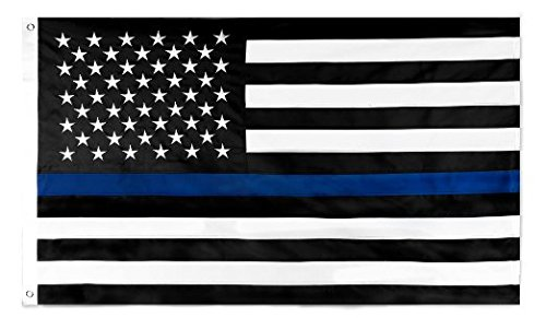 SoCal Flags Thin Blue Line Flag 3x5 Foot Polyester Honor The Men and Women of Law Enforcement - Black White and...
