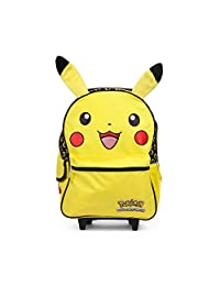 "Pikachu 16"" inch Yellow Rolling Backpack Luggage with Plush Ears"
