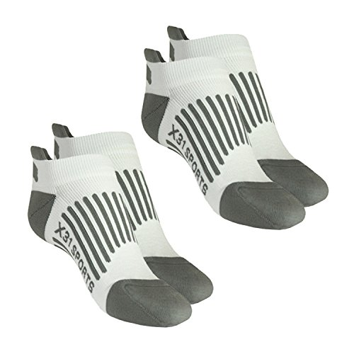 X31 Sports Low Cut Running Socks with Tabs Cushion Arch Support (White, Small) x2