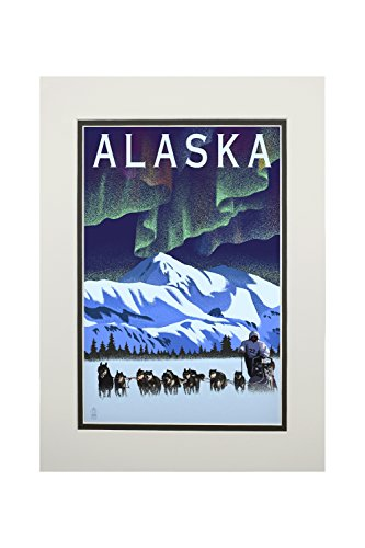 Alaska - Northern Lights and Dog Sled - Lithograph (11x14 Double-Matted Art Print, Wall Decor Ready to Frame)